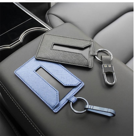 Key Card Holder Leather Keychain